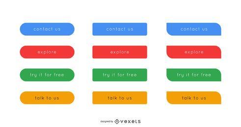 Elegante botón web y paquete de iconos