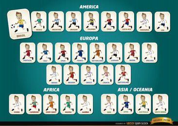 Equipos de jugadores de fútbol de dibujos animados Brasil 2014