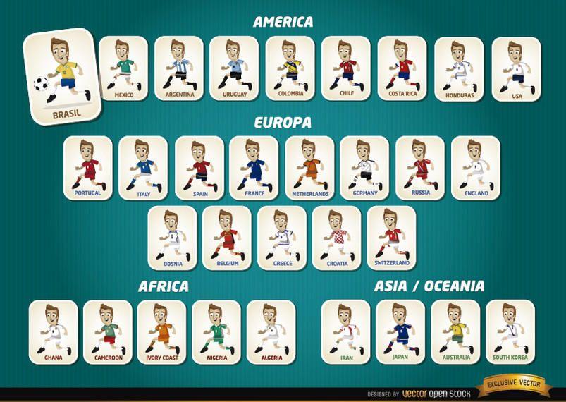 Crianças Que Jogam O Futebol Nos Desenhos Animados Do: Jogadores De Futebol Dos Desenhos Animados Equipes Brasil