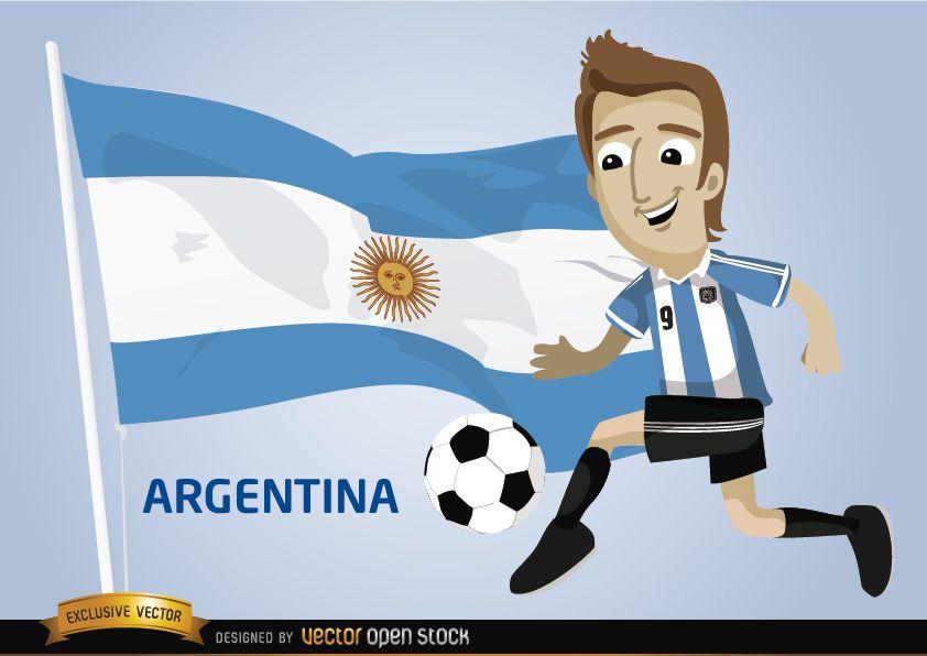 Personaje Con Camiseta Y Bandera De Argentina Mundial