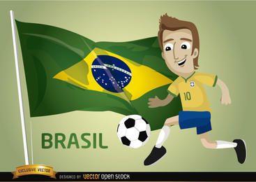 Bandera de jugador de dibujos animados de fútbol de Brasil