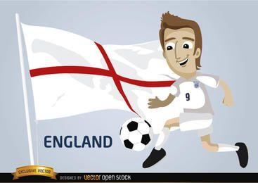 Jugador de fútbol con la bandera de Inglaterra