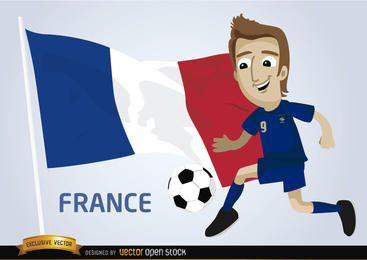 Jogador de futebol da França com bandeira