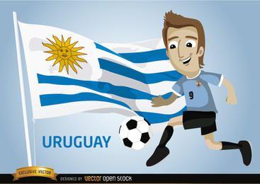 Jugador de fútbol con la bandera uruguaya