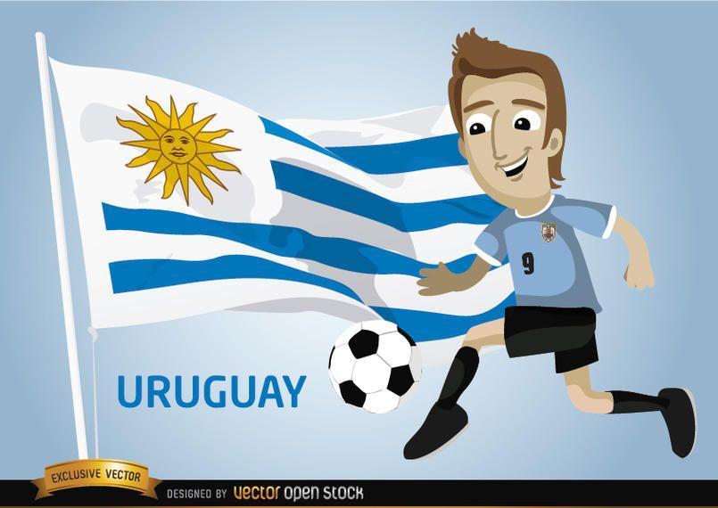 Futbolista uruguayo con bandera.