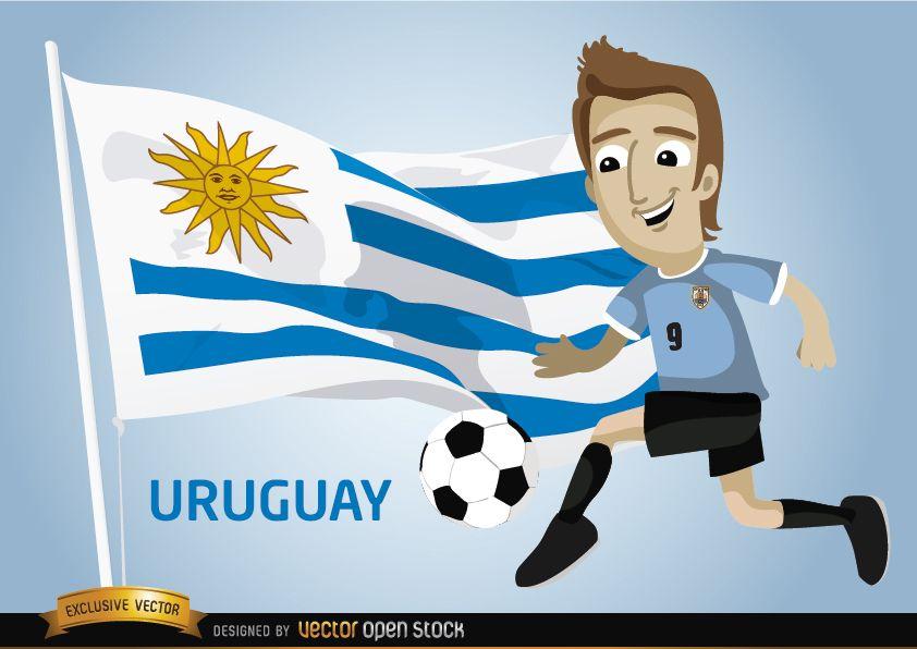 Jugador de f?tbol uruguayo con bandera