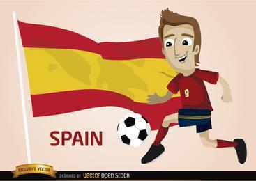 Jogador de futebol de Espanha com bandeira