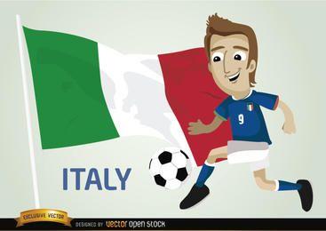Jogador de futebol italiano com bandeira