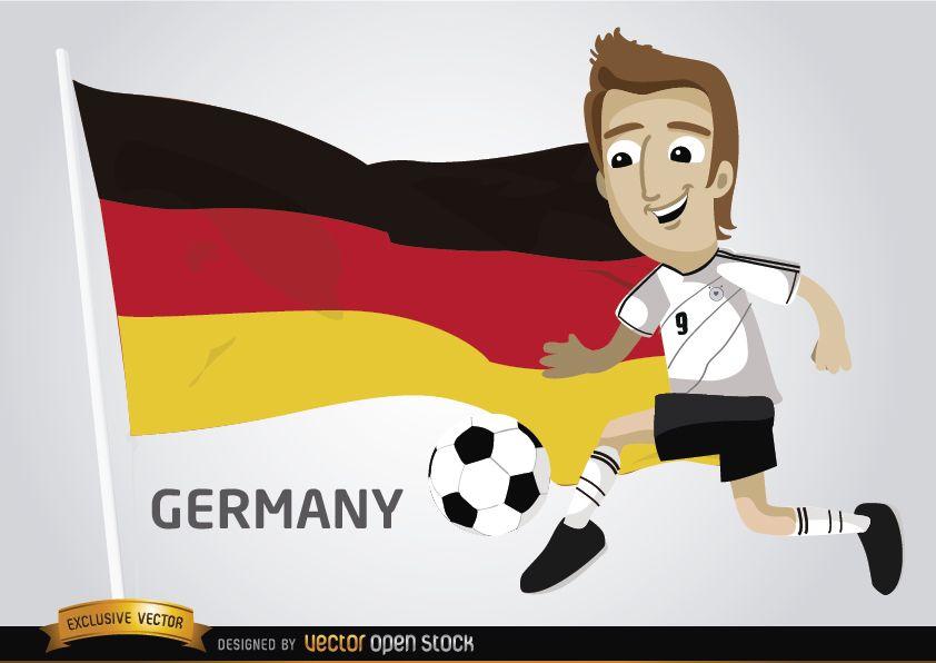 Jogador de futebol alemão com bandeira