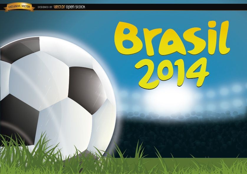Brasil 2014 Football in grass of field