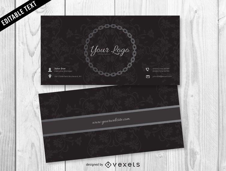 Diseño de tarjeta de visita de joyería oscura