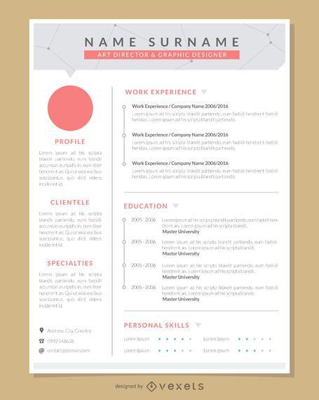 Plantilla de currículum gráfico artista profesional