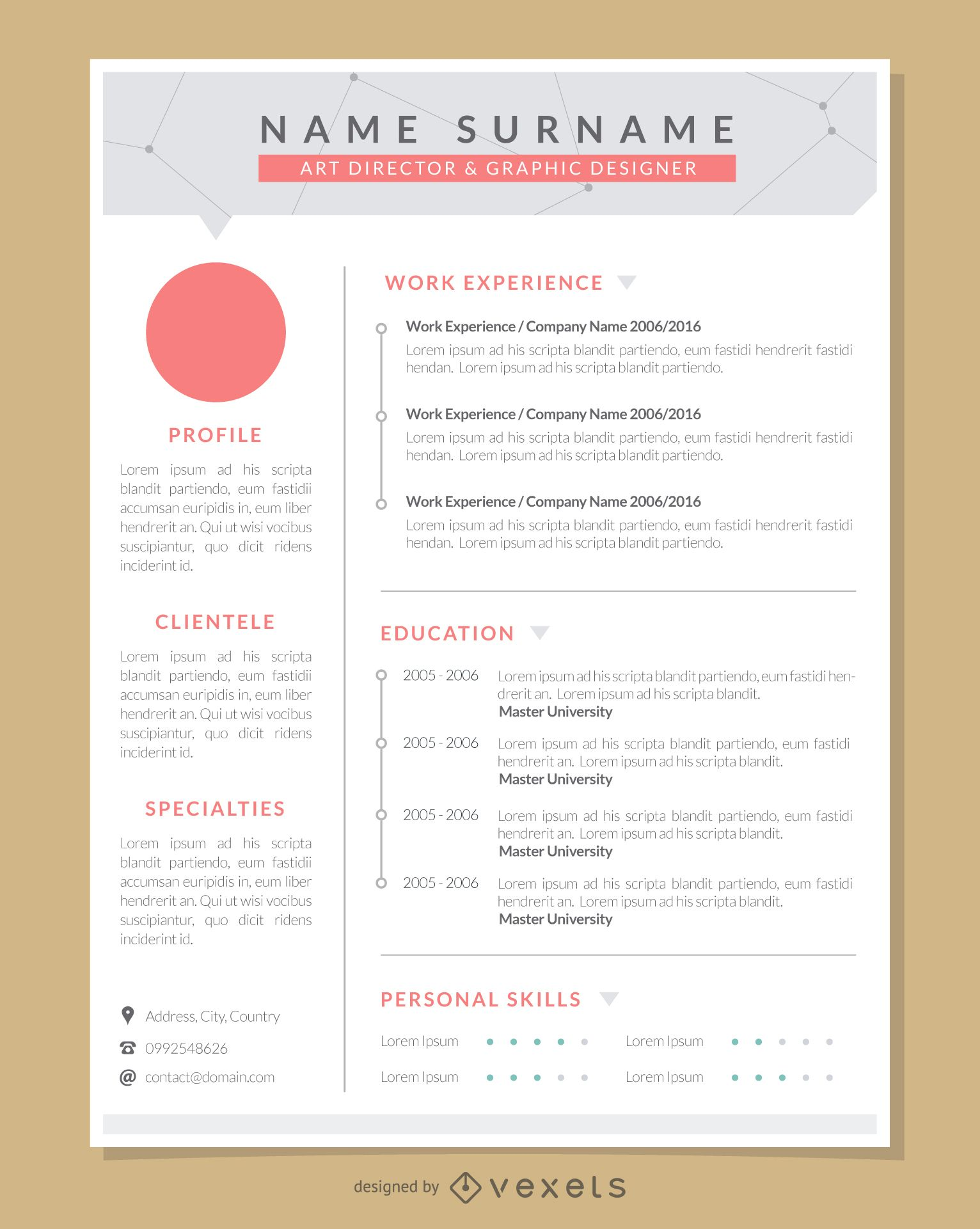 Graphic Artist Pro Resume Template Vector Download