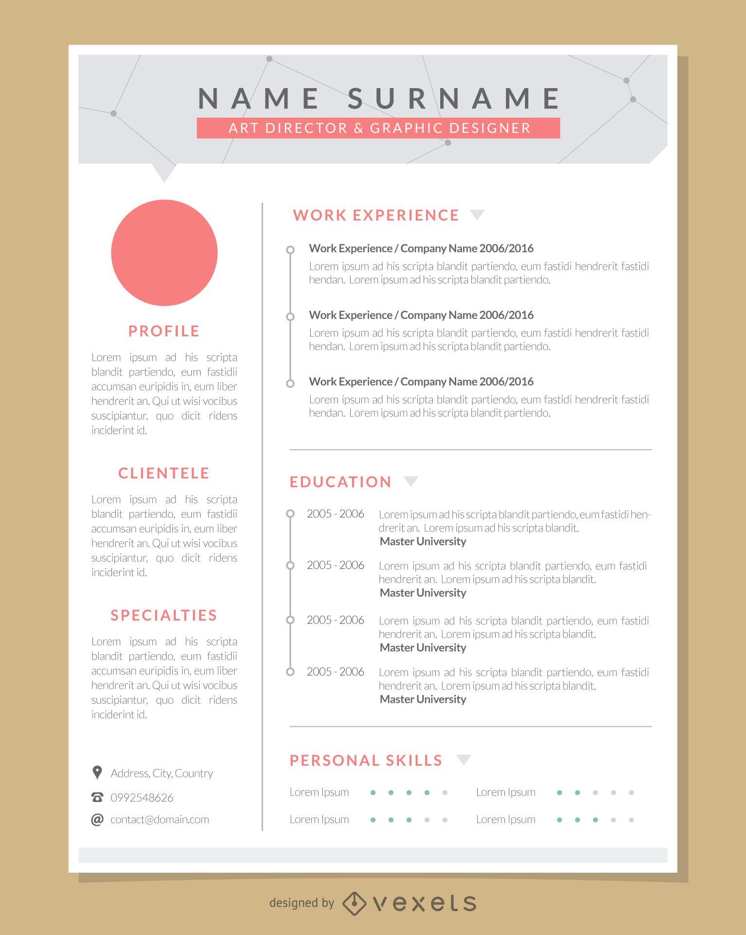Modelo de currículo profissional para artista gráfico