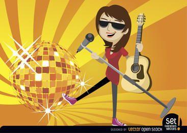 Guitarrista cantora com bola de discoteca