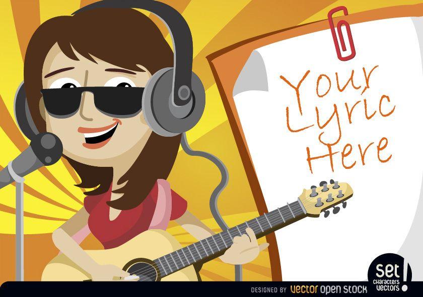 Girl singing and playing with lyrics