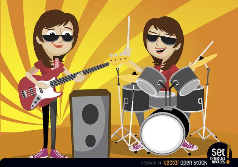 Chicas tocando bajo y batería.