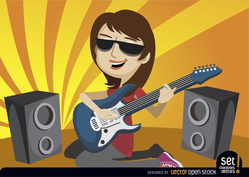 Mujer guitarrista meciéndose sobre sus rodillas