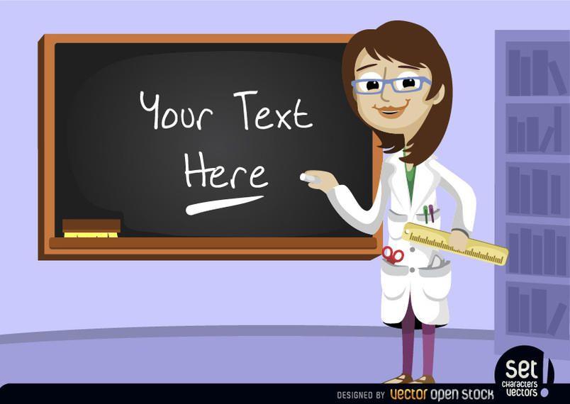 Teacher with blackboard in class