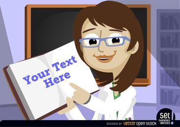 Mensaje de profesor señalando en el libro de texto