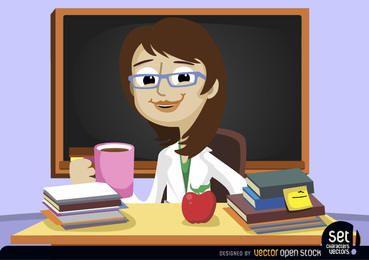 Profesor detrás del escritorio del aula
