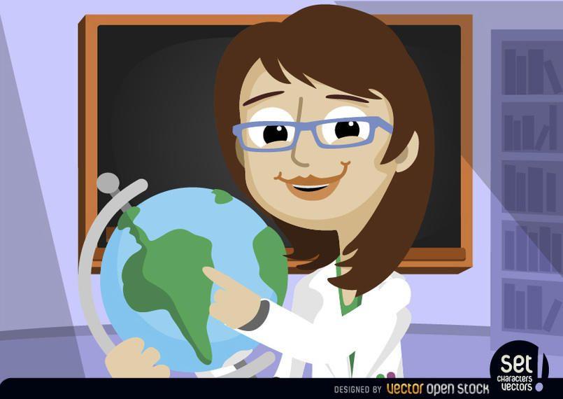 Professora apontando para o globo do mundo