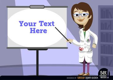 Pantalla señalando profesora