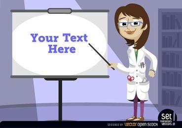 Professor fêmea que aponta a tela da apresentação