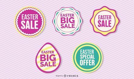 Conjunto de insignias de descuento de Pascua vintage