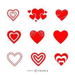 Conjunto de ícones de coração dos namorados