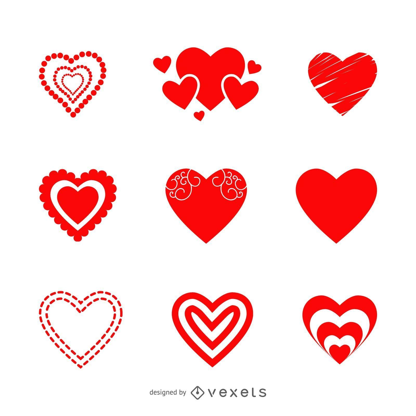 Conjunto de iconos de coraz?n de San Valent?n