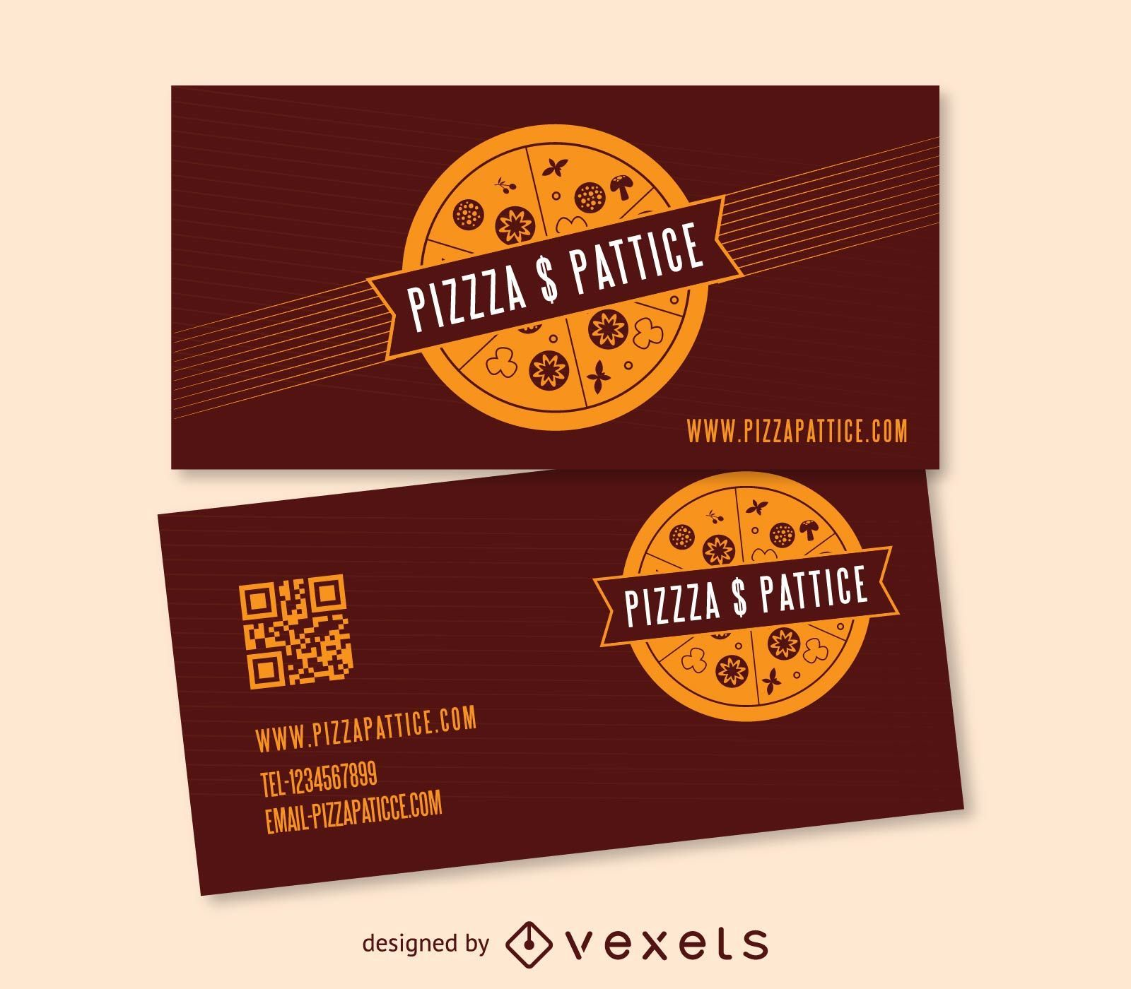 pizza pattice fast food business card vector download