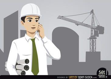 Ingeniero con construcción y grúa