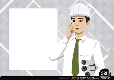 Ingeniero con tablón de mensajes y teléfono.