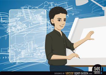Junger Architekt, der eine Zeichnung mit Mitteilung macht