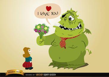 Amor de monstro com flores para menina