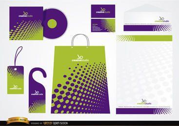 Design de embalagem de papelaria verde roxo