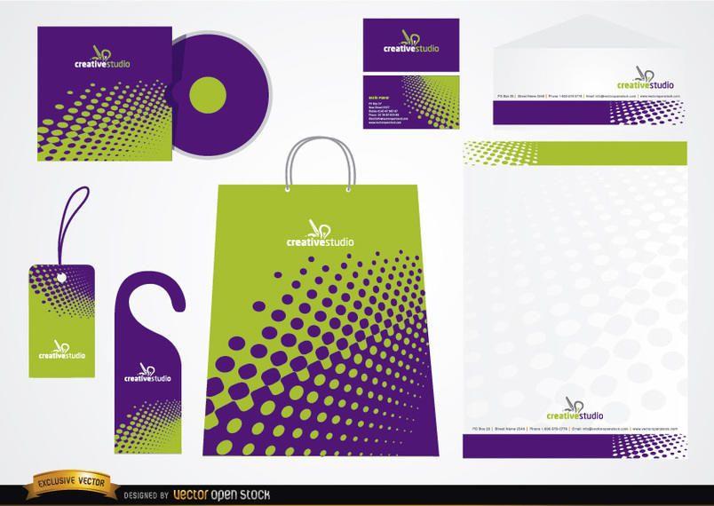 Diseño de empaque de papelería verde púrpura