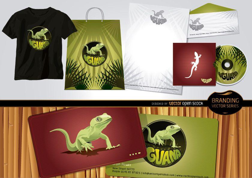 Conjunto de marca de iguana com modelo estacionário