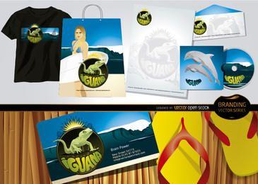 Iguana marca praia tema