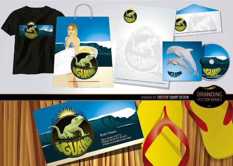 Tema de la playa marca de iguana