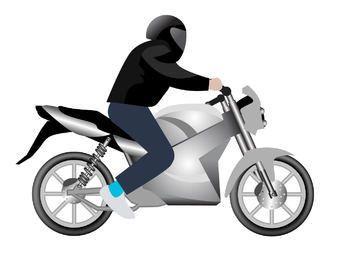 Homem, montando, motocicleta