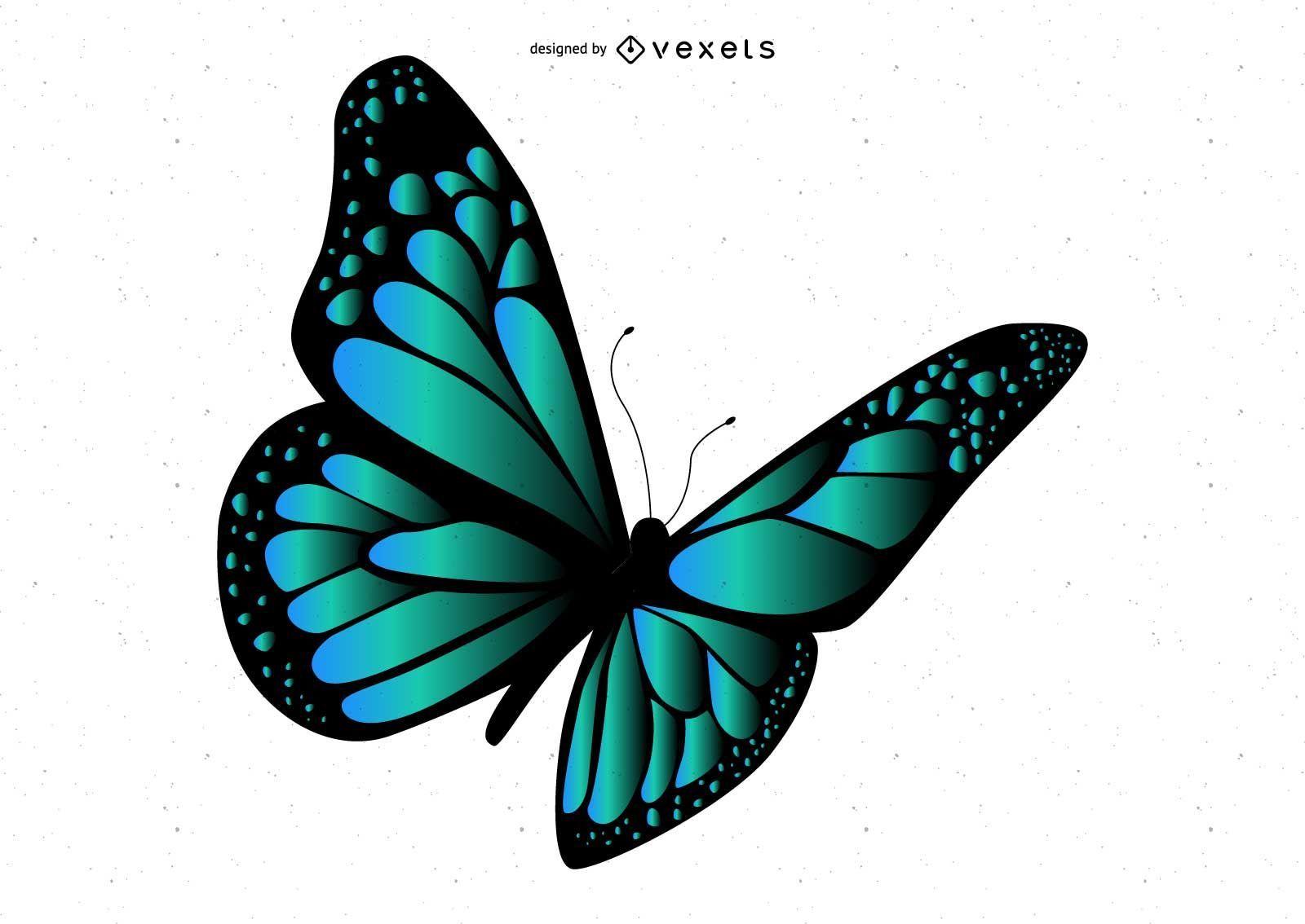 Stylish Blue Butterfly