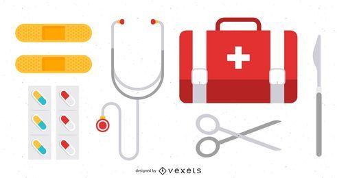 Ícones de medicina e equipamentos de cirurgia