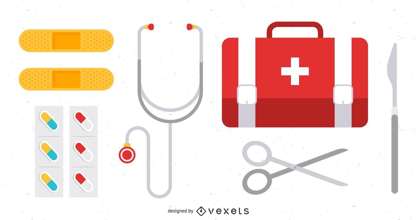 Herramientas de cirugía Iconos de medicina y equipos