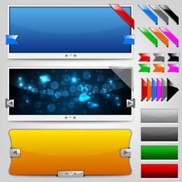 Glänzendes Web Slider Set mit Bändern