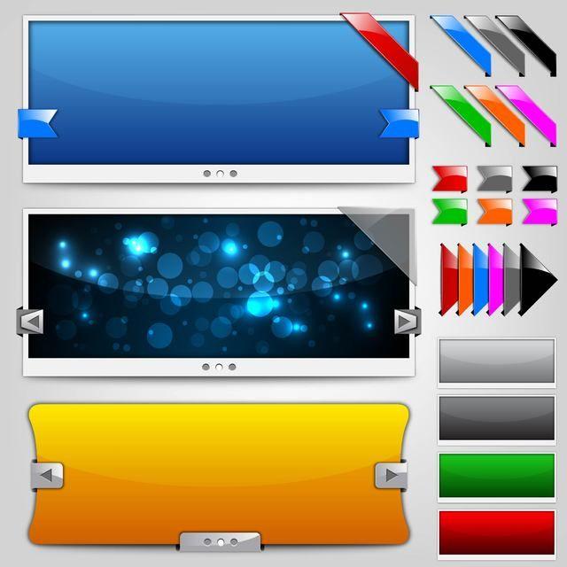 Glossy Web Slider Set with Ribbons