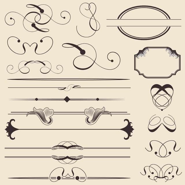 Paquete de decoración y marco caligráficos