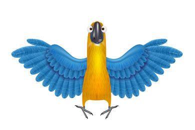Funky Papagei mit ausführlichen Flügeln