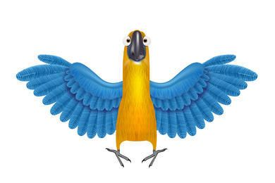 Papagaio funky com asas detalhadas